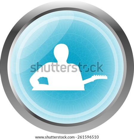 guitarist blue button isolated on white - stock vector