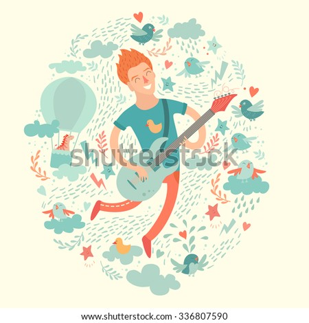 Guitarist, cartoon hipster playing guitar on a colorful background. Isolated vector illustration - stock vector