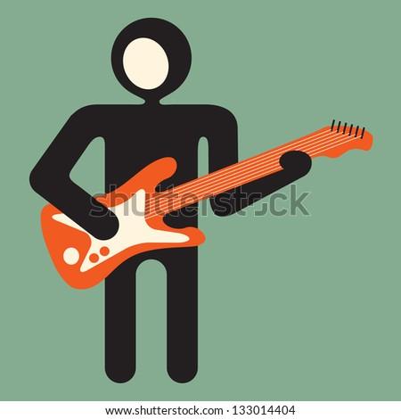 guitarist -  guitar player - stock vector