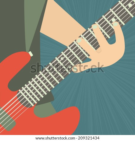 guitarist illustration - stock vector