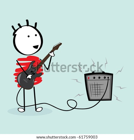 guitarist schoolboy - stock vector