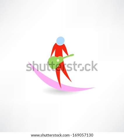 guitarist with red guitar Green abstraction icon - stock vector
