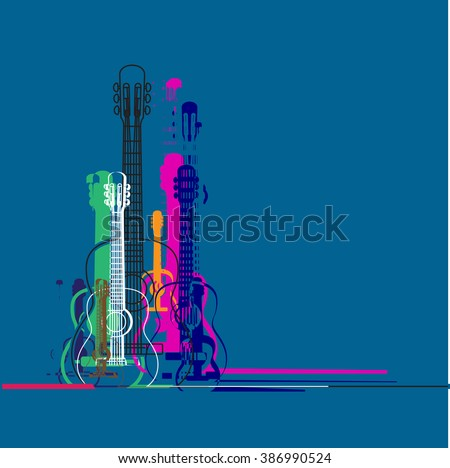 Guitars silhouette and linear colorful banner design , vibrant colorful classic guitar , place for text,concept illustration. - stock vector