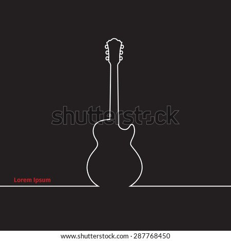 Guitars silhouette on a advertising card, vector illustration