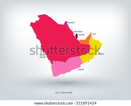 GULF COUNTRIES NEW COLORFUL MAP, VECTOR  - stock vector