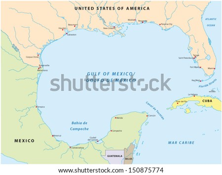gulf of mexico map - stock vector