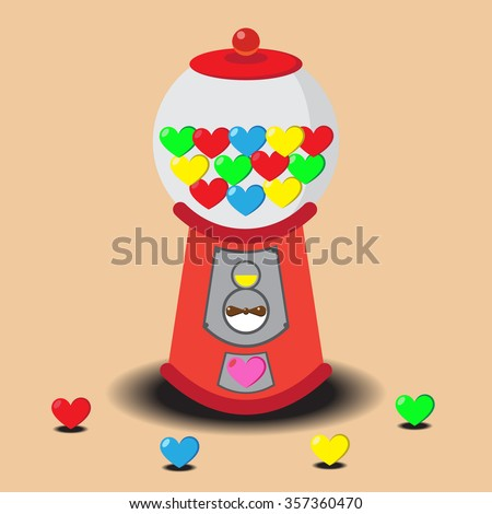 Gumball Machine filled with Valentine hearts