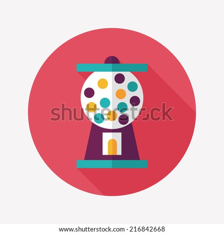 Gumball Machine flat icon with long shadow,eps10 - stock vector