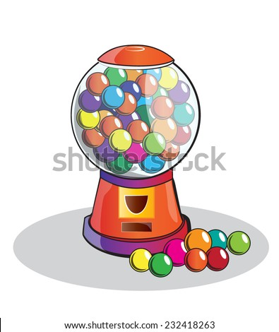 Gumball machine isolated, doodle style