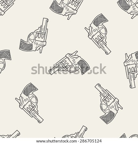 gun doodle seamless pattern background