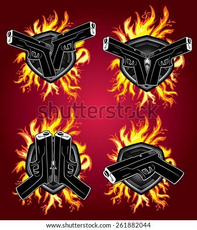 gun glock pistol fire flames graphic - stock vector