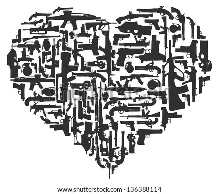 Gun Heart - stock vector