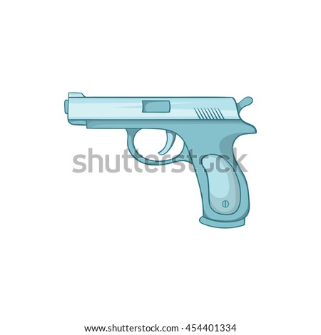 Gun icon in cartoon style isolated on white background. Weapons symbol - stock vector