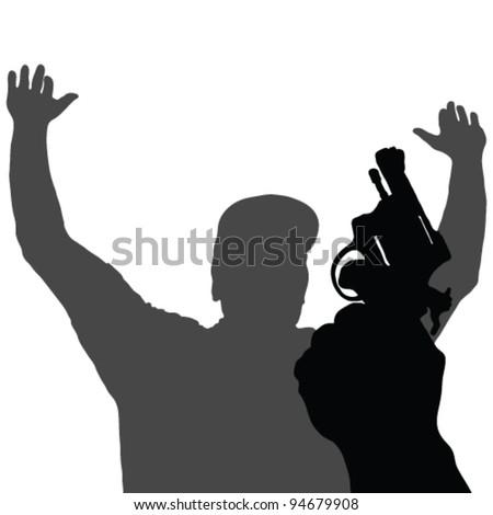 gun in hand vector illustration on white background - stock vector