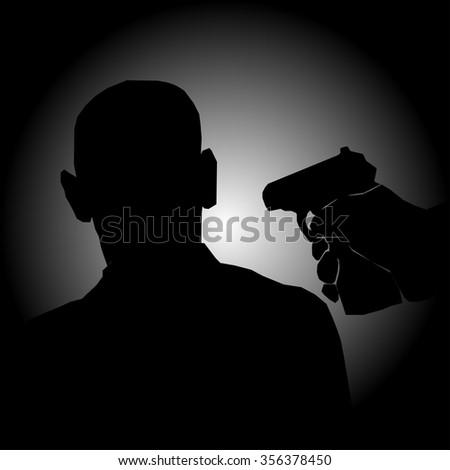 gun in his hand. criminal. victim. danger. - stock vector