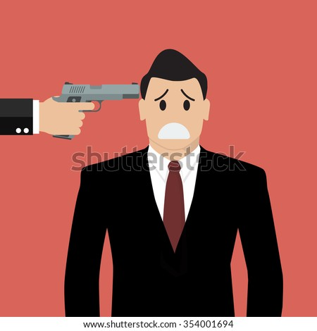 Gun point to businessman head. Business concept - stock vector