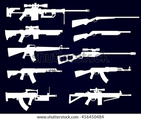 Gun shapes black icon vector set with rifles and pistol