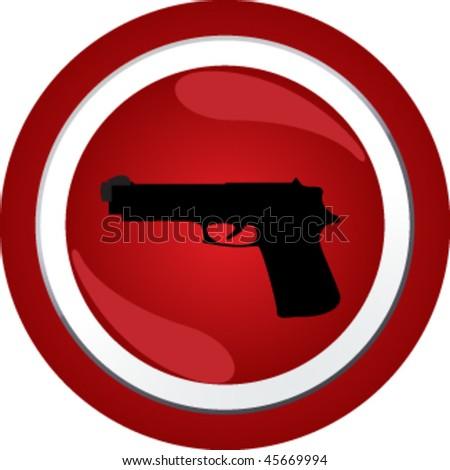 gun sign icon button - stock vector