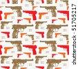 gun silhouette pattern - stock vector