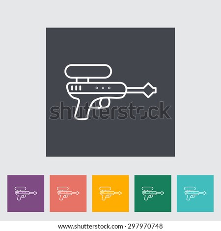 Gun toy thin line flat vector related icon set for web and mobile applications. It can be used as - logo, pictogram, icon, infographic element. Vector Illustration.  - stock vector