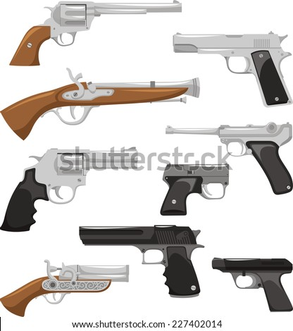Gun Weapon War Crime Security Military Police Equipment, vector illustration cartoon. - stock vector