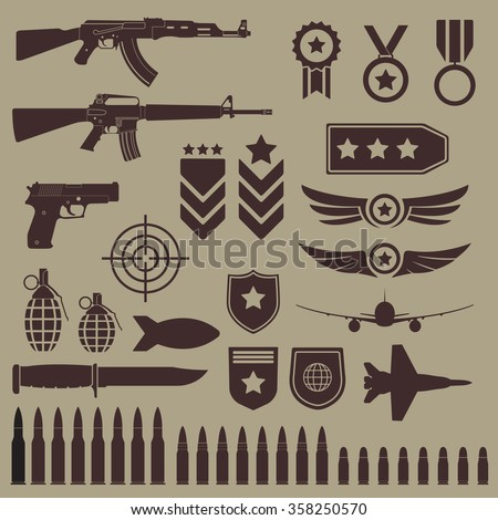Gun, weapons and military icon set. Sub machine guns, pistol and bullets icons. Symbolics and badge for army. Vector illustration. - stock vector