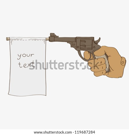 Gun with a flag vector illustration - stock vector