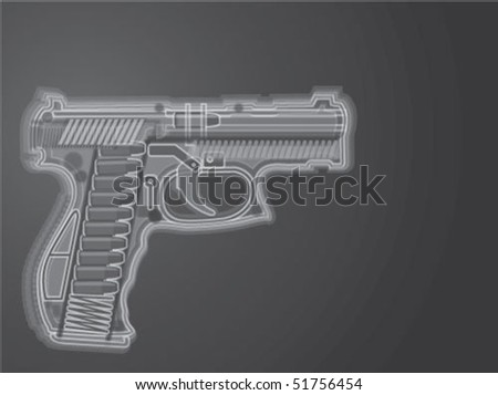 Gun X Ray Illustration Vector - stock vector