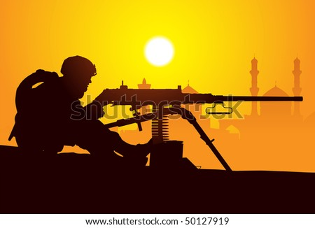Gunner. Silhouette of a soldier with a machine gun - stock vector