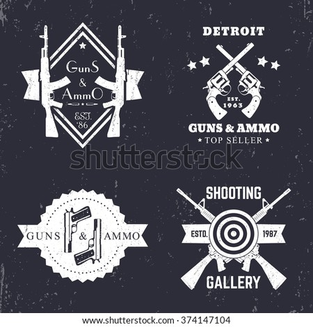 guns and ammo, vintage logo, badge with automatic rifles, crossed revolvers, two pistols, shooting gallery logo, sign with assault  - stock vector