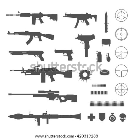 Guns and game elements icons - stock vector