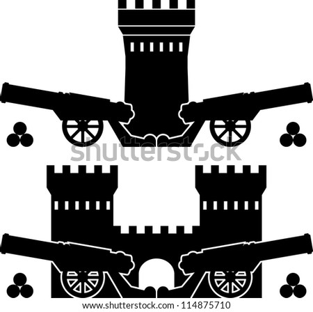 guns and towers. vector illustration - stock vector