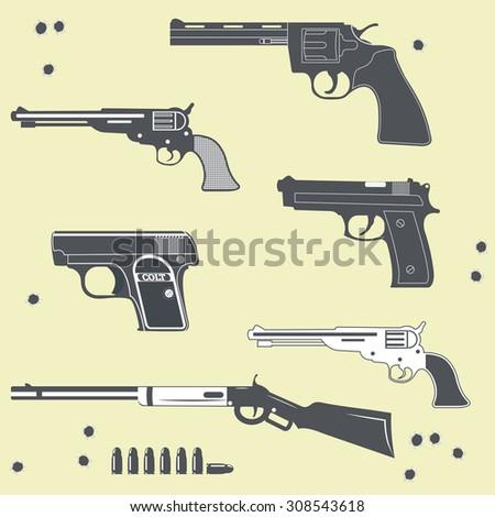 Guns collection set of Bullet. Bullet Hole - stock vector