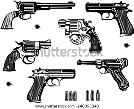 Guns: old and modern - stock vector