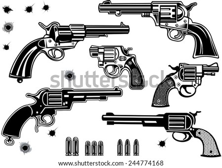 Guns: Revolver collection set of Bullet. Bullet Hole - stock vector