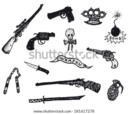 Guns, Revolver, Weapons And Rifles Set/ Illustration of a set of doodle hand drawn weapons, silver guns, police colt and caliber, revolver, pistol, hunting or sniper rifles and knives or blades - stock vector