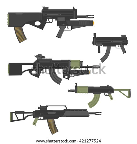 Guns, rifles, submachines, carabines, weapon, firearms, stock vector.