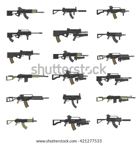 Guns, rifles, submachines, carabines, weapon, firearms, stock vector set.