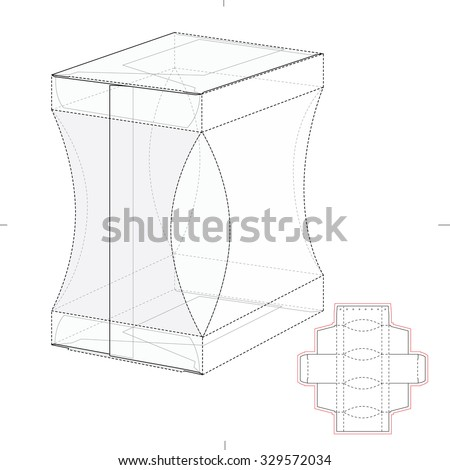 Gusseted Retail Box with Die Line Template - stock vector