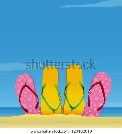 Guy and girl sandals partially buried in the sea shore. - stock vector