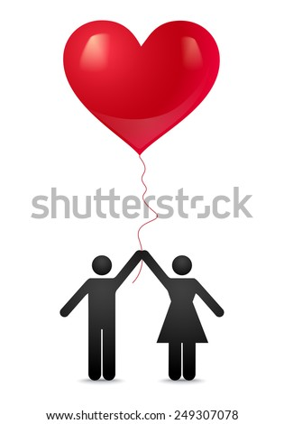 Guy and girl with balloons - stock vector