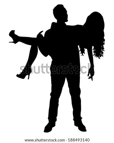 guy carrying his beautiful girlfriend, vector - stock vector