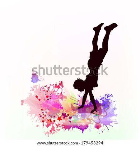 guy dancing on his hands. Vector - stock vector
