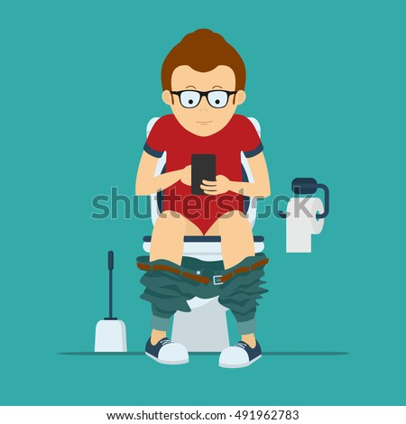 Guy hipster sits on toilet bowl with phone in hands  Toilet bowl  toilet  paper. Toilet Stock Images  Royalty Free Images   Vectors   Shutterstock