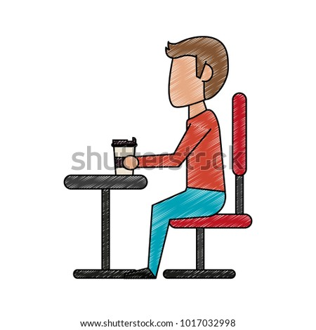 Guy in desk with coffee