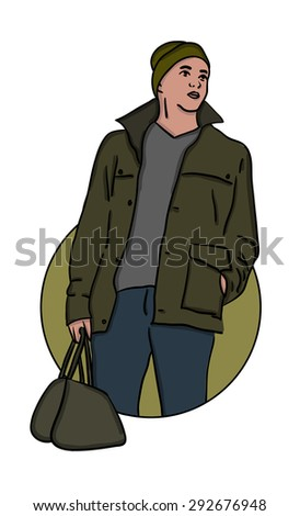 guy in khaki style with a bag - stock vector