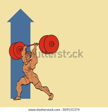 guy lifting up the barbell - stock vector
