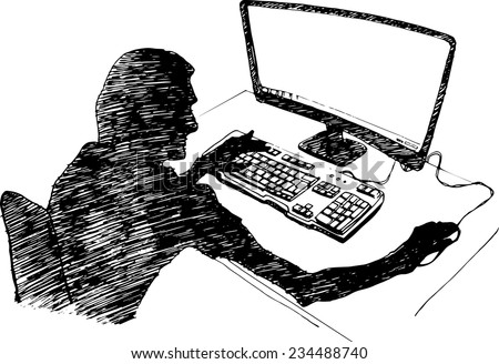 Guy sitting at the computer. Vector sketch - stock vector