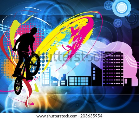 Guy with bmx. Vector - stock vector