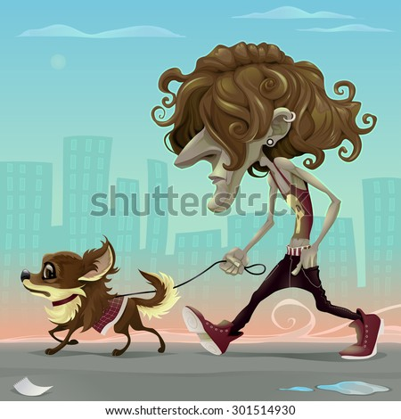 Guy with dog walking on the street. Vector cartoon illustration - stock vector